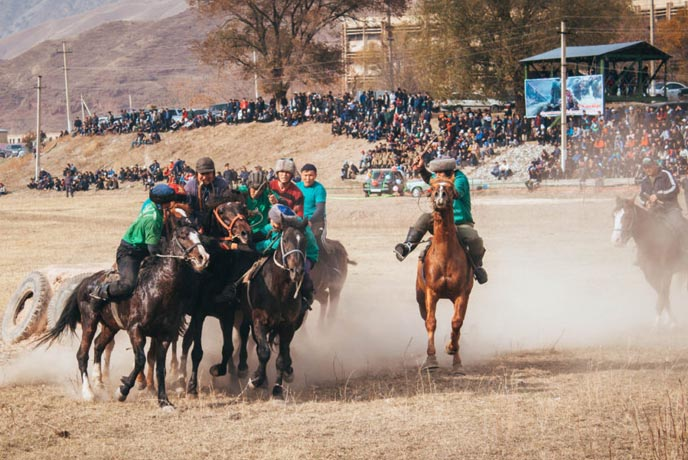 Watch a Kok-Boru (Goat Carcass Polo) Match